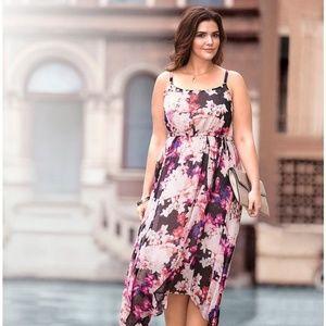 LANE BRYANT Floral Asymmetrical Hem Dress 18/20
